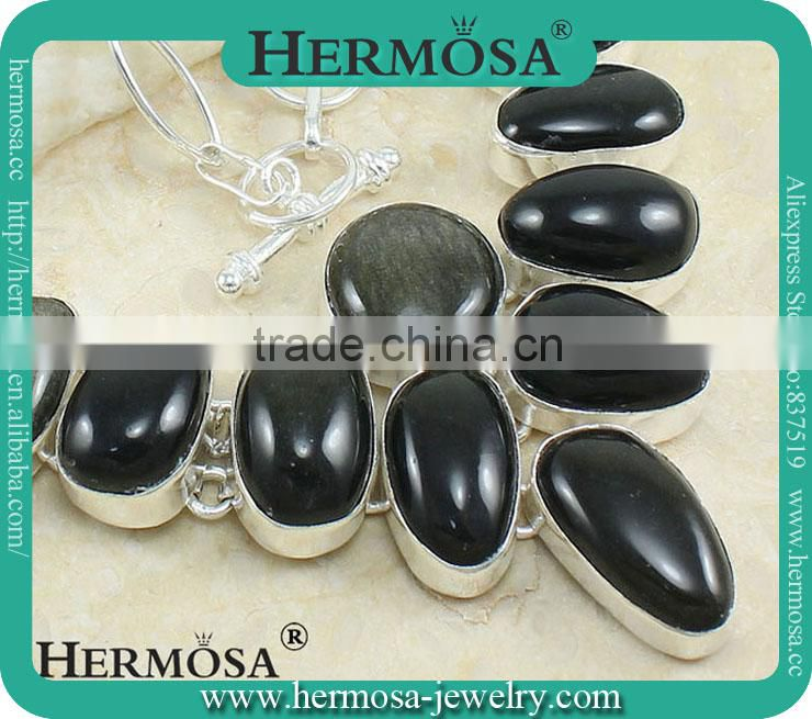 Hermosa Jewelry SPIKE 925 Sterling Silver Mystical Black Onyx Stone Necklace Jewelry Wholesale Price