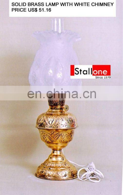 BRASS TABLE LAMP WITH WHITE CHIMNEY