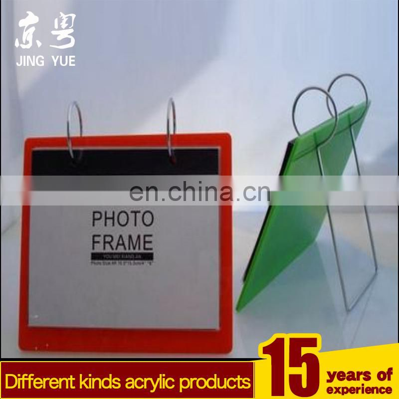 Clear L shape pmma acrylic plexiglass calendar holder with photo frame desktop calendar holder plexiglass calendar holder