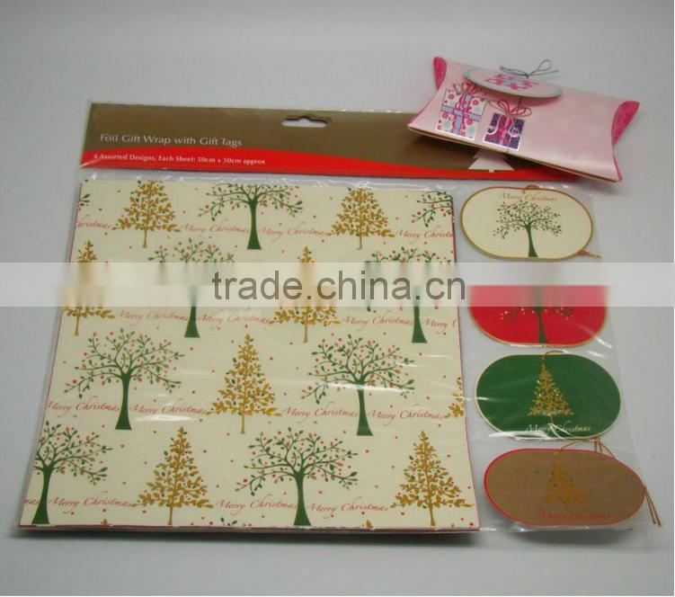 Hot sale Foil Christmas Gift Wrap With Gift Tags packing paper