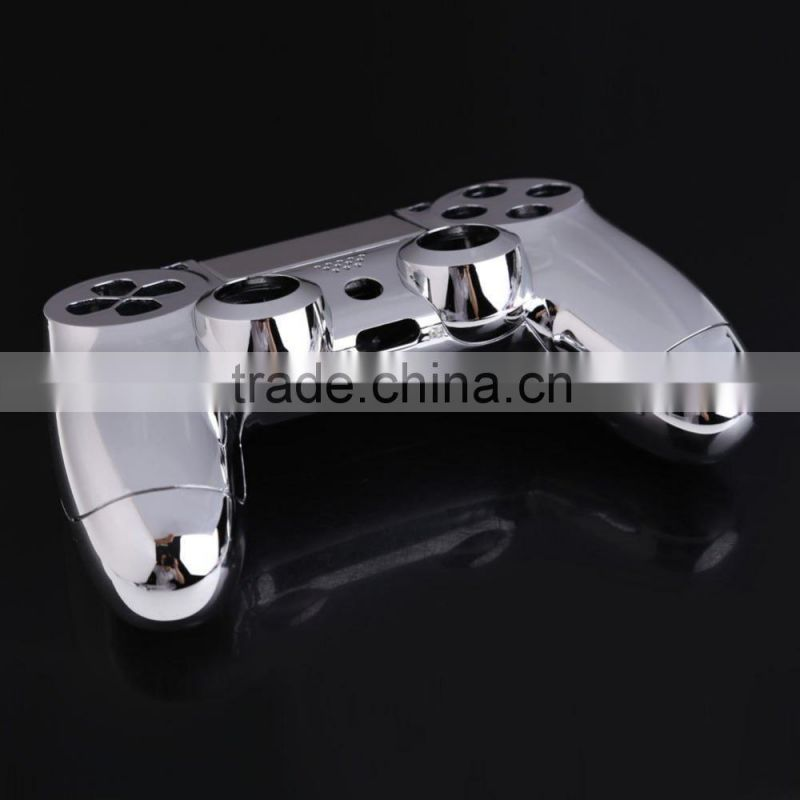 for PS4 Front Back Housing Controller Shell Polished Glossy Case Skin Cover Controller Grip Handle (Silver color) for ps4
