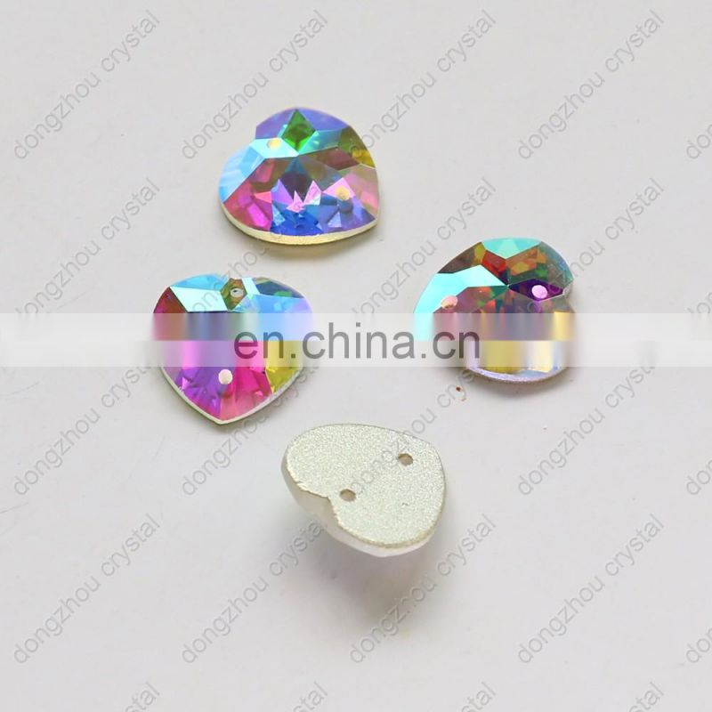 DZ-1055 heart shape flat back glass sew on stones for garment accessories