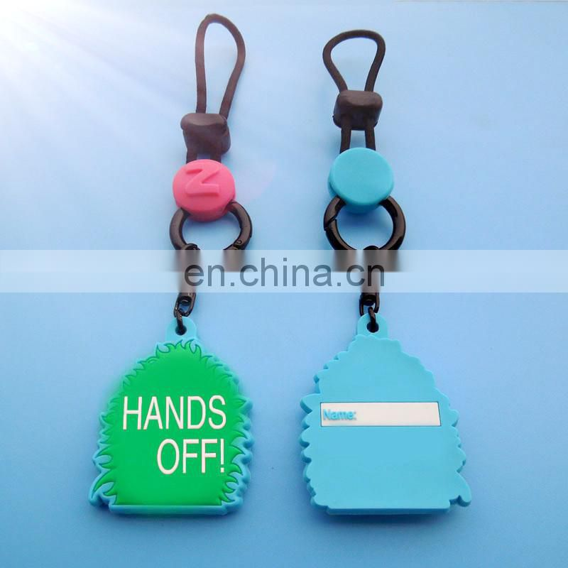 soft pvc fashion schoolbag name tag for children with transparent string