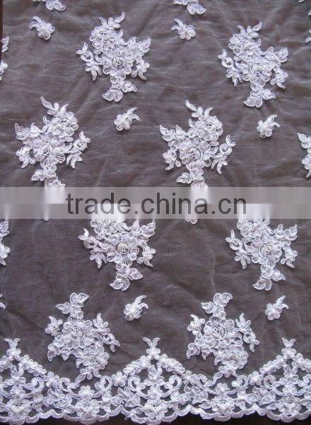 White embroidery corded lace