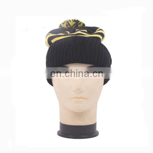 2017 High quality hip-hop fold up custom acrylic beautiful winter Pom Pom Knitted hat/beanie hat