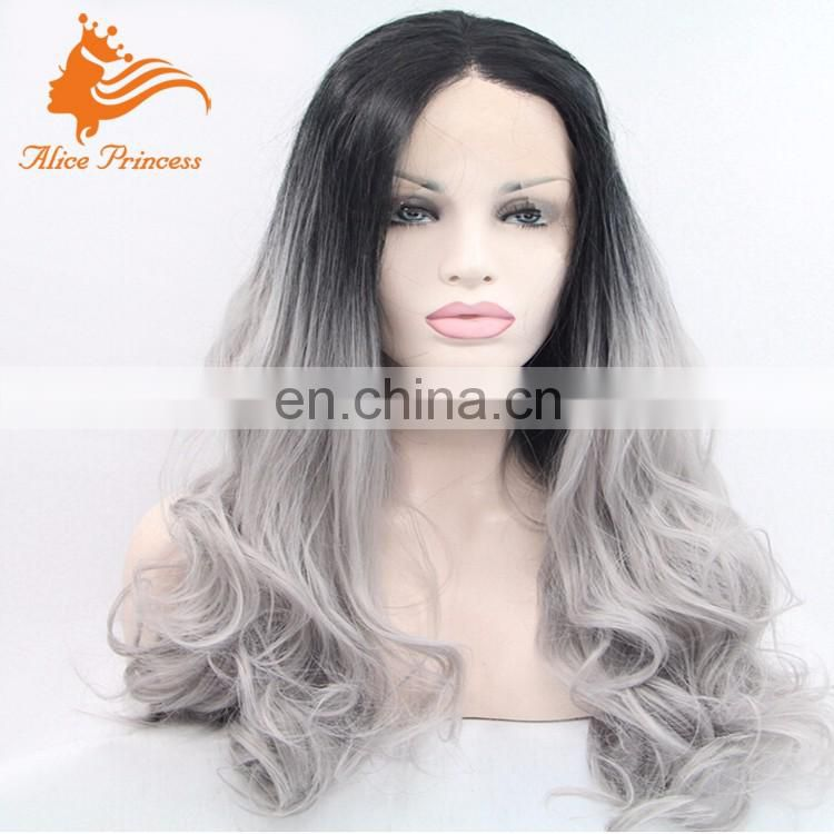 New Ombre Two Color Wavy Style Gray Wig Virgin Human Gray Hair Full Lace Wig Peruvian Hair Beauty Wave For Women Costume Wig