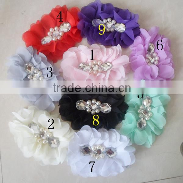 2014 Yiwu Aimee supplies chiffon flower rhinestone brooch pin (AM-CF02)