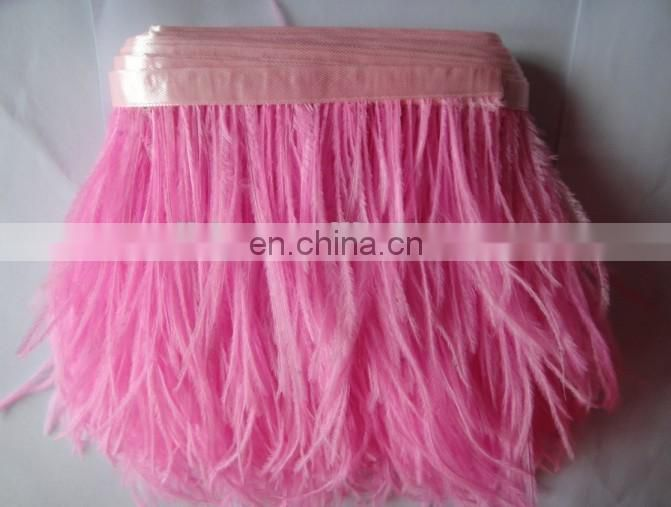3-4 inch ostrich feather trimmings with satin ribbon