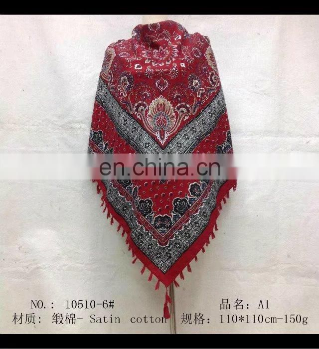 square scarf with fringe fashion scarf 20170846 110*110cm SATIN COTTON scarf