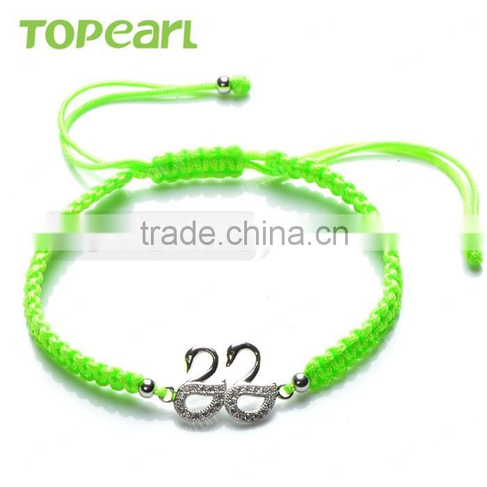 Topearl Jewelry Cubic Zirconia Women Accessories Swan Couple Charm Hand-knitted Bracelet 9SB09