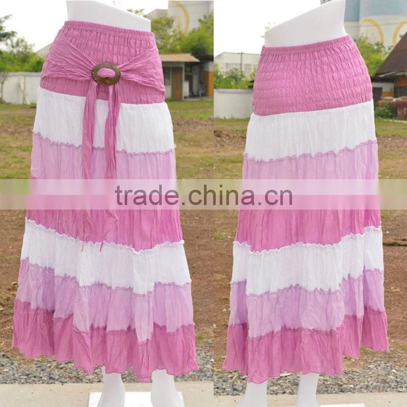 latest fashion new designed color block maxi skirt hippie boho skirt gypsy casual coco buckle wholesale hippie clothing