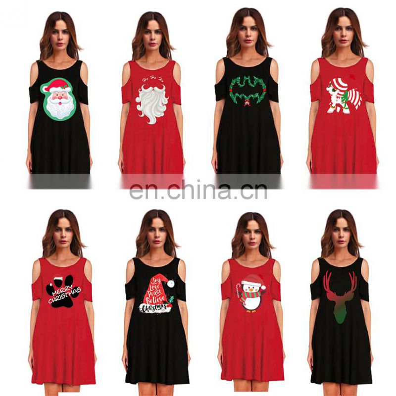 Girls Christmas Ugly Santa Claus Short Women Strapless Dresses One Piece Outfit