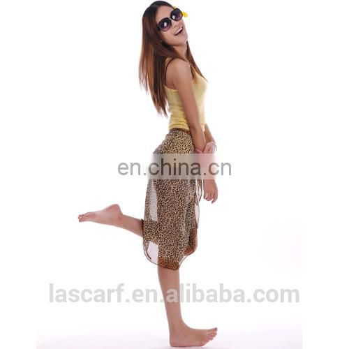 leopard printed polyester chiffon pareo