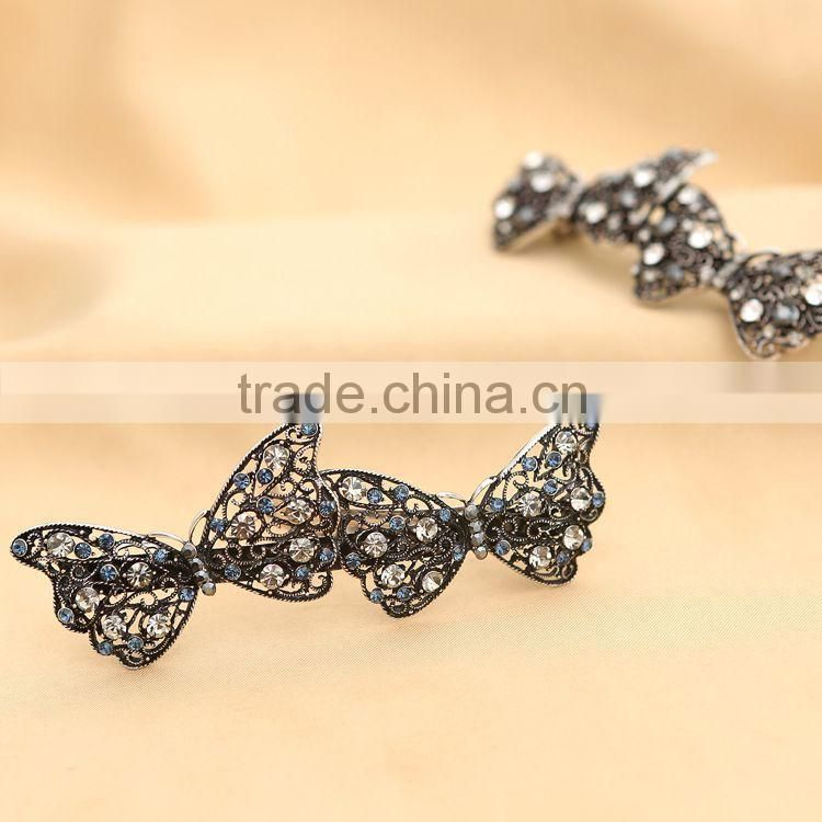 Luxurious Super Cute Loving Butterfly Long Hair Clip Rhinestone Barrettes Hair Ornament Accessories For Women Beauty