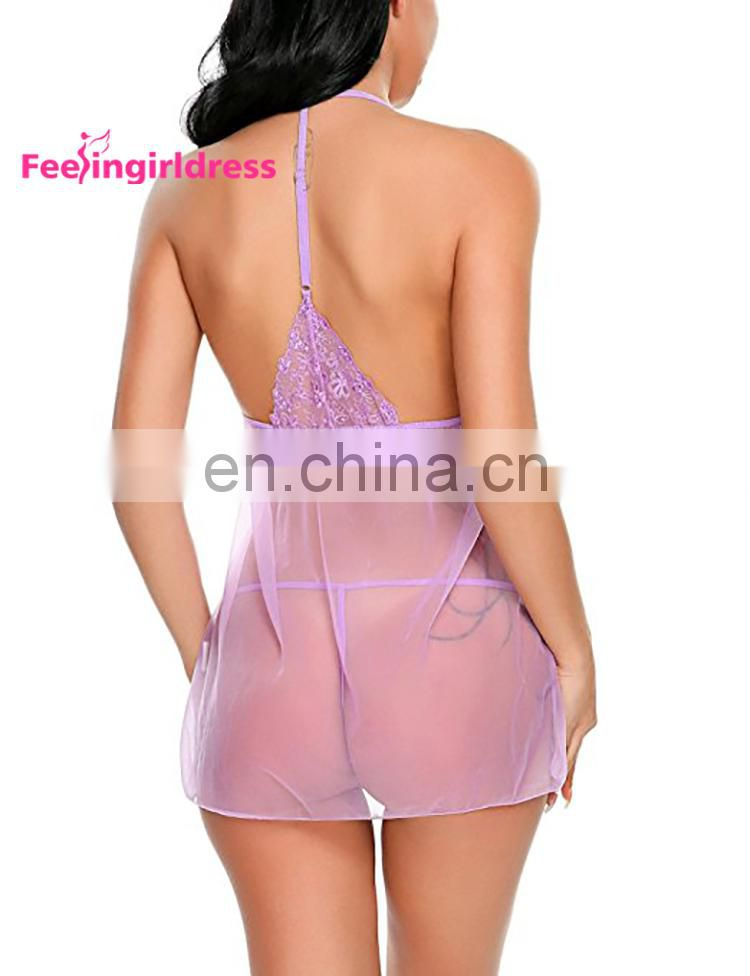 Purple Deep V Neckline Babydoll Japanese Mature Women Sexy Lingerie