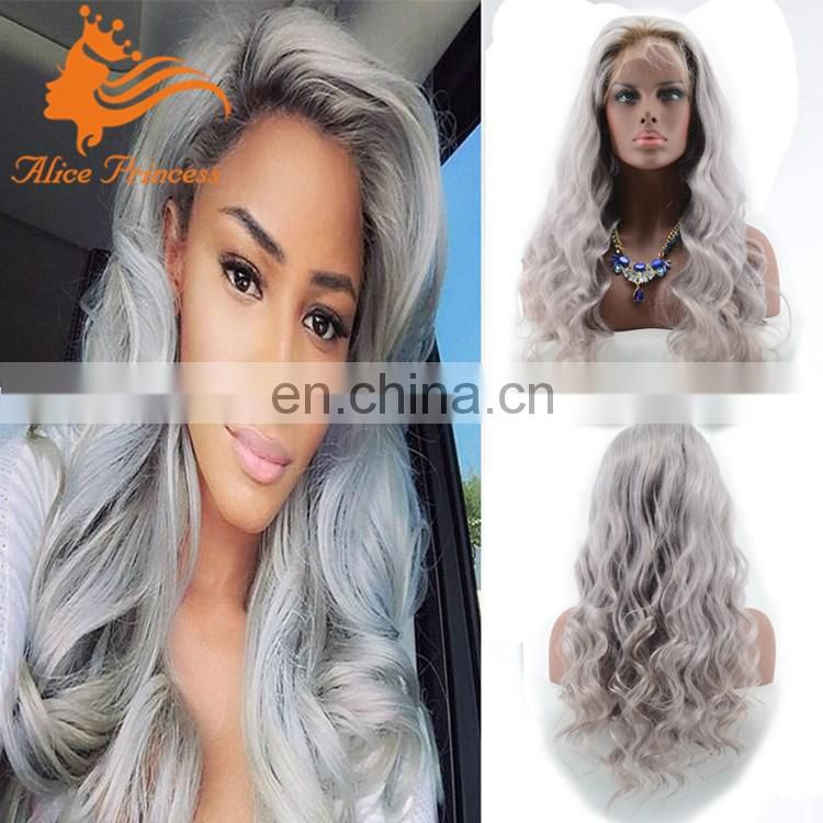 Fashion Ombre Two Tone Color Body Wave Virgin Human Hair Full Lace Wigs In Silver Grey