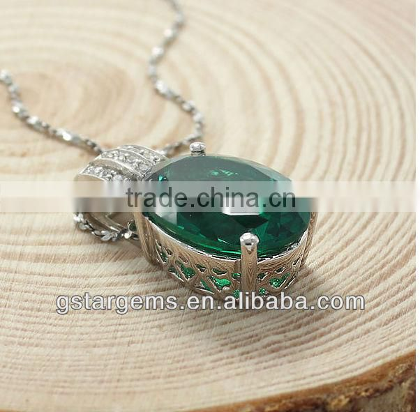 oval shape hand setting created emerald three row small stone 925 sterling silver pendant
