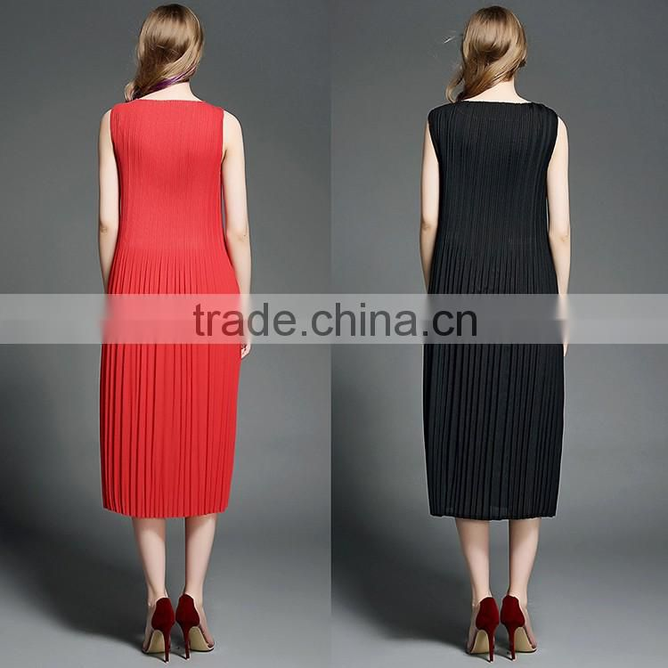 2016 Summer Fashion High Quality Long One Piece Dress Lady Pleated Sleeveless Red Black Maxi Dresses For Women Ladies