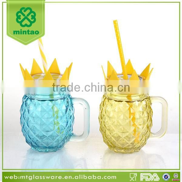 16oz Glass Pineapple M ason Jar with Slicone and Straw