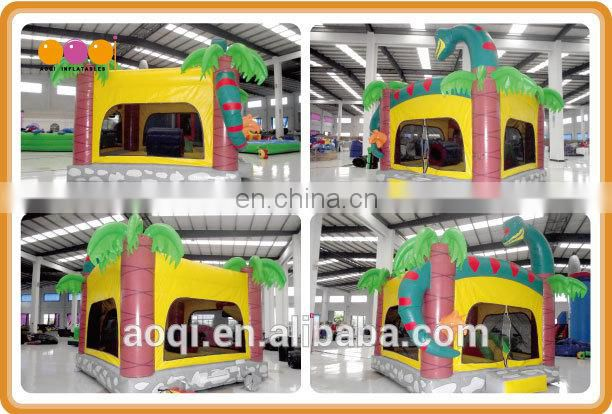 Commercial use snake theme inflatable moonwalks for kids