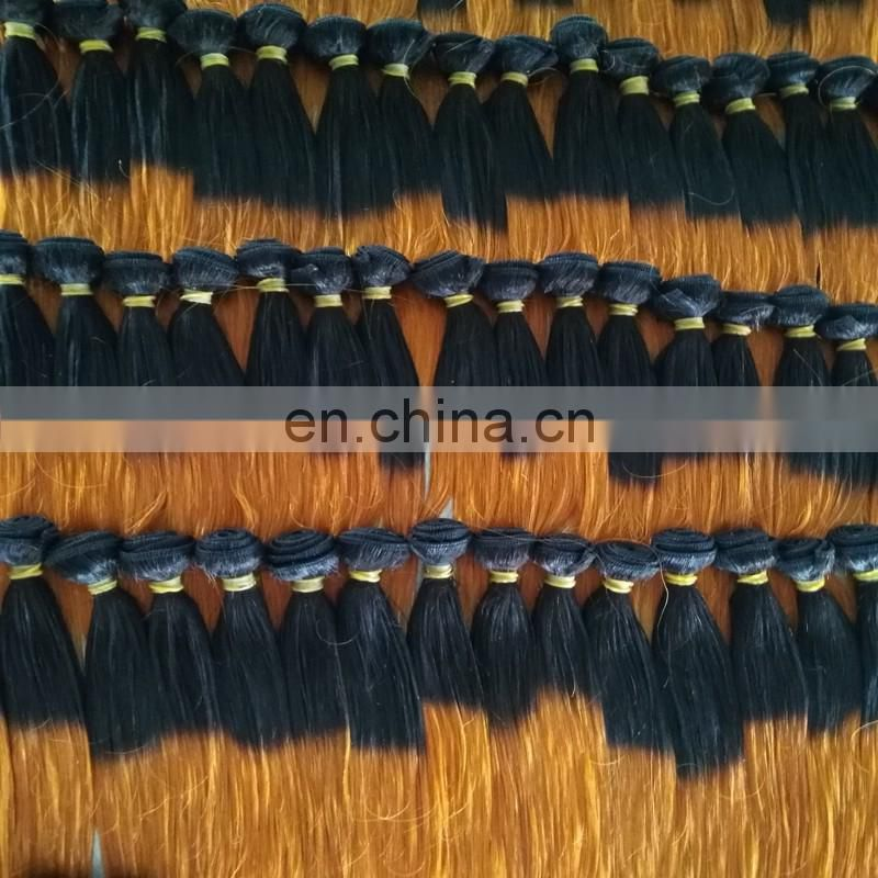 "Factory wholesale 6"" 8"" short length two tone hair weave silky straight virgin brazilian hair extensions"