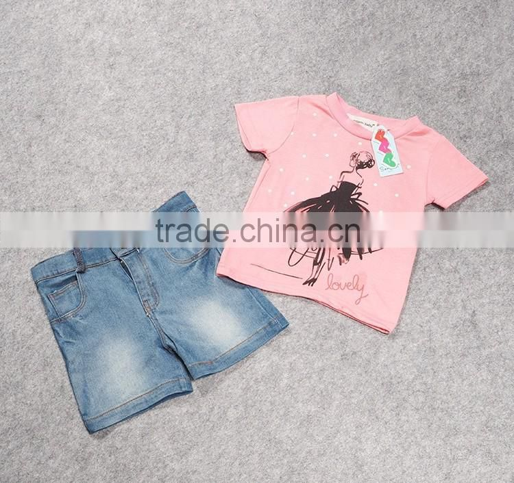 Korean Style 2016 fashion Casual Baby Kids Clothing Summer Wearing Cute Two Pieces Sets Children Girl Cotton Sets