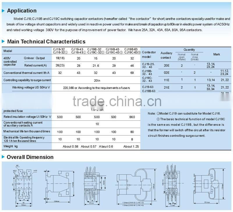 Lomg life reliable CJ19 ac types of contactor , 3 phase electric magnetic contactor,