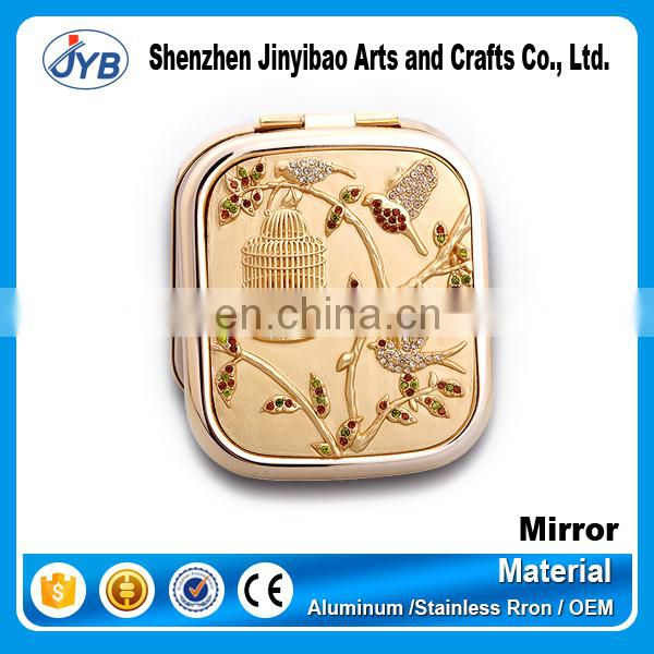 Heat Shape and Silver Finishing Heart Shaped Compact Mirror
