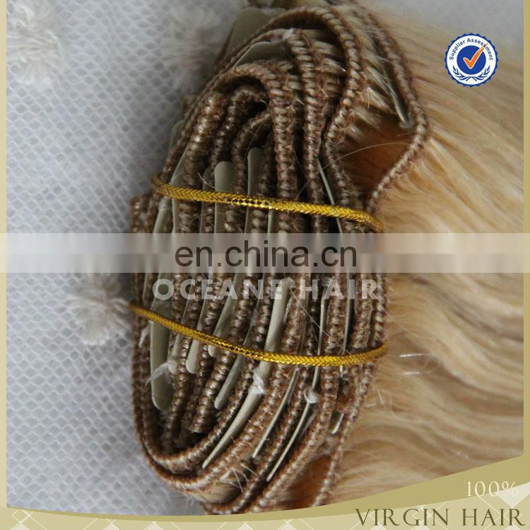 wholesale Brazilian remy human hair weave blonde color ombre clip in hair extension