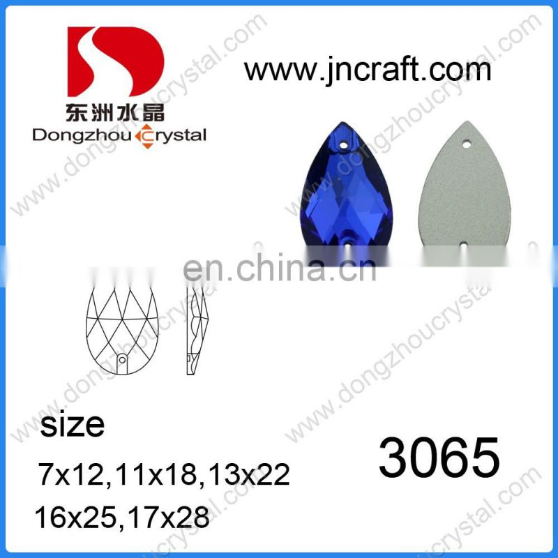 Pear shaped flat back crystal sew on glass stones for clothes decoration