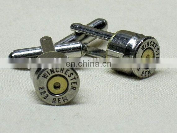 Army cufflink with bullet design