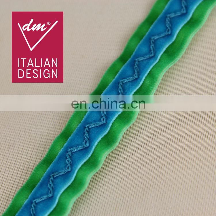 New design blue-green ruffle webbing polyester velvet tape for wholesale