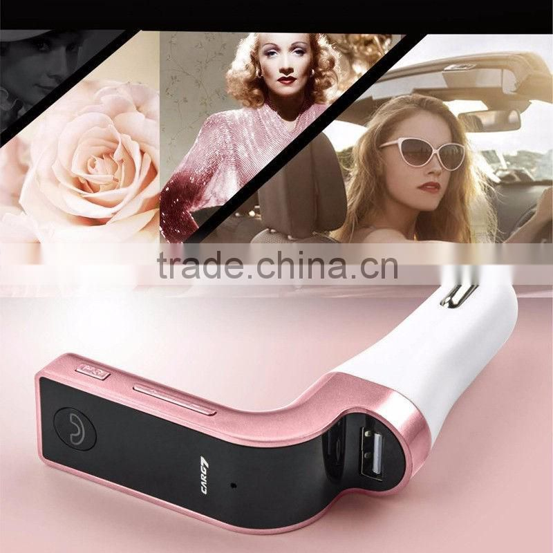 DIHAO 2016 Fashional bluetooth handsfree car kit with dual USB/AUX port and mp3 player FM transmitter