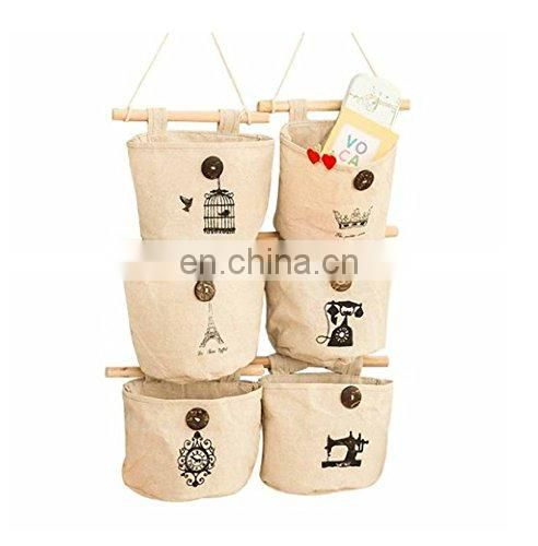 OEM cotton Fabric Wall Door Closet Hanging Storage Bag Small Cotton Hanging Pockets Set of 3