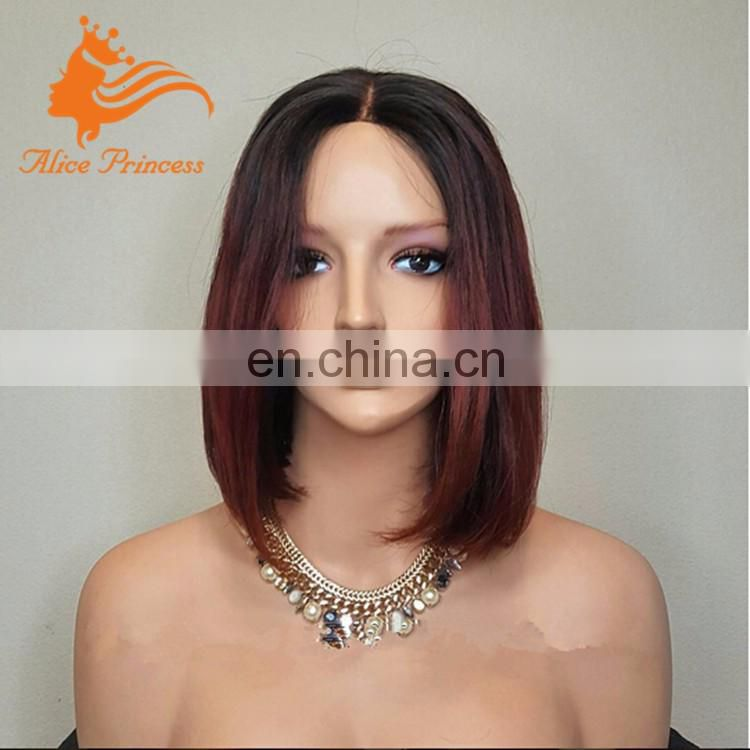 Ombre Two Tone Lace Front Hair Wig 99J Virgin Peruvian Hair Silky Straight Short Bob Dark Red Human Hair Front Wig