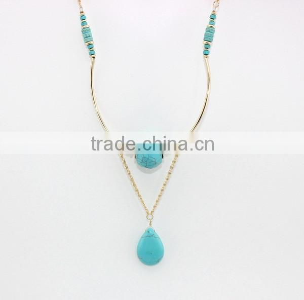 Turquoise Drop Pendant Necklace and Bracelet Set