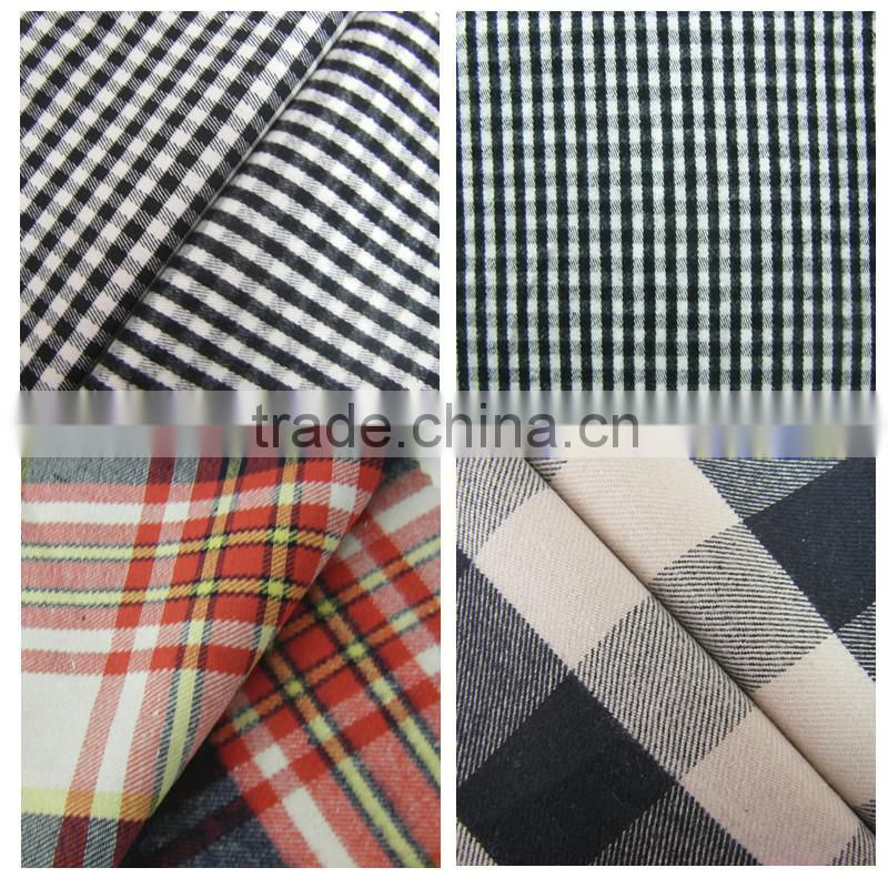 cotton polyester brushed plaid flannel fabric of yarn dyed