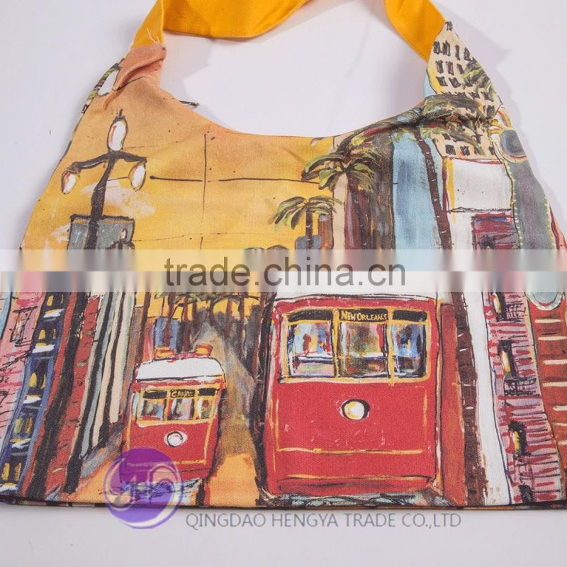 Digital printed custom shopping women's canvas tote bag