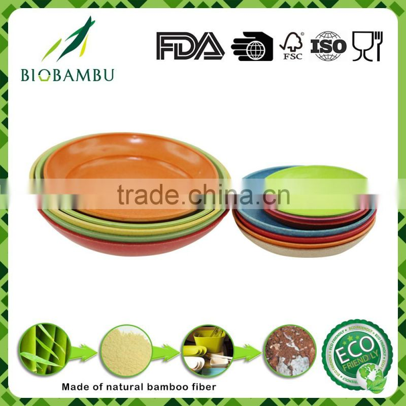 OEM available diswasher safe green lifestyle bamboo fiber serving tray