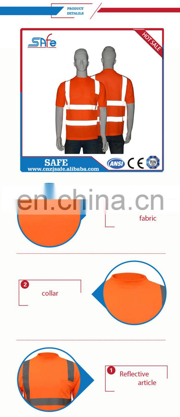 China Supplier high visibility safety shirts long sleeve