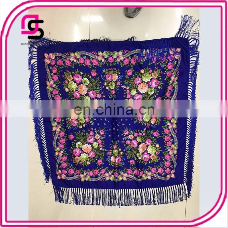 2017 Yiwu summer new national wind printed thin with tassel scarf