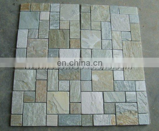 Multicolor Curved Slate Stone Wall Ledger Panel