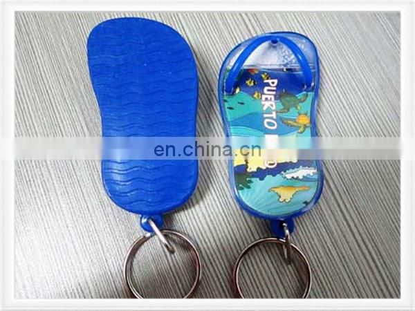Acrylic keychain with shoes shape and custom printing inserted