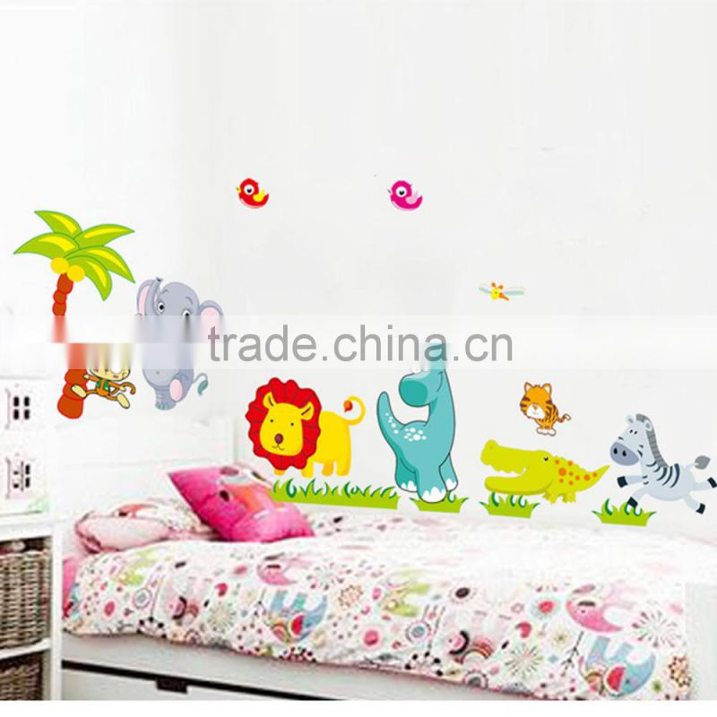 Cartoon Jungle wild Animals DIY 3D vintage wallpaper vinyl wall stickers for kids rooms child wall art decals home decoration