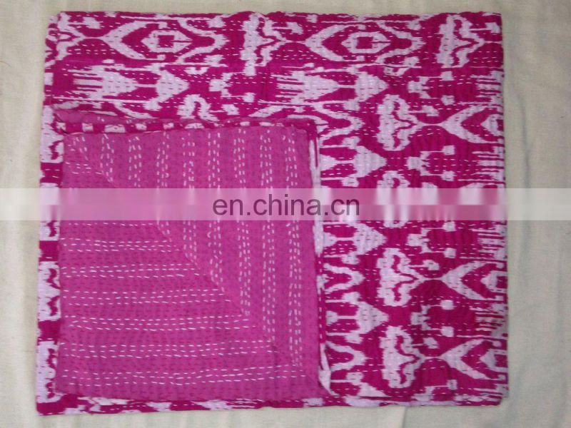 Buy Wholesale Hand stitched Indian Ikat Kantha Quilt, Handmade reversible quilt India Wholesale