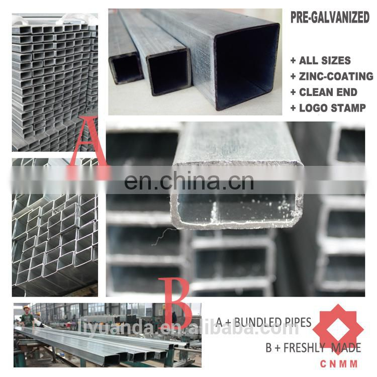 : rectangula and square tube pipes ,BS1387 ZIN COATING;200-220G/SM