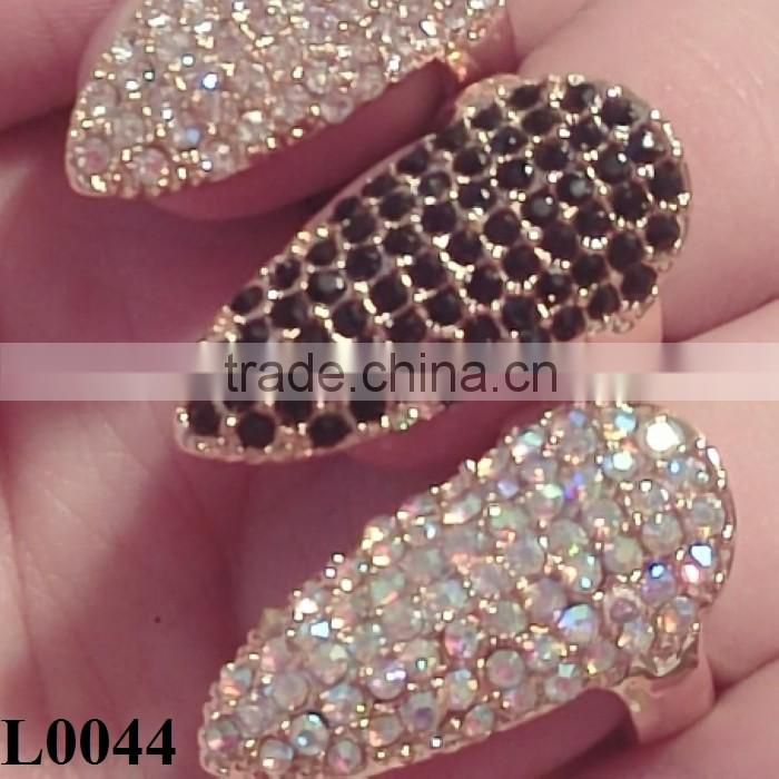 Wholesale False Nail Black/White/Silver Rhinestone Finger Ring New High Quality Nail Jewelry L0044