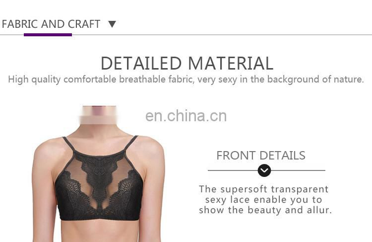 Lace Sexi Girl Pictures of Girls Without Bra Underwear Custom High-Neck Bralette Ladies Bra Size 32