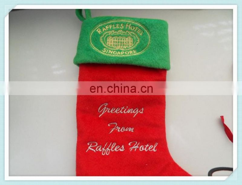 lovely christmas plush sock with animal head toy