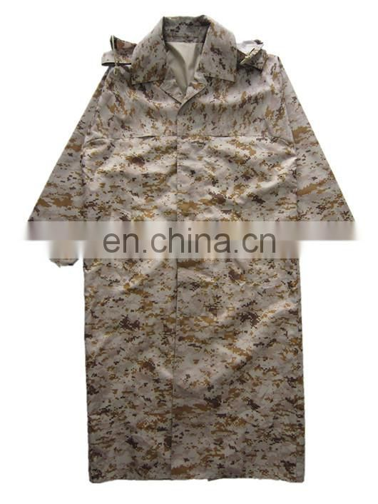 camouflage military PU raincoat